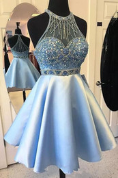 Light Sky Blue Short Homecoming Dresses Scoop Neck Short Prom Dresses Crystal Beaded Formal Party Gowns Custom Made Cocktail Dress
