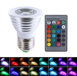 LED RGB Bulb 3W 16 Color Changing 3W LED Spotlights bulbs E27 GU10 E14 MR16 GU5.3 led light Lamp 24 Key Remote