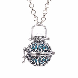 Wholesale Fashion Jewelry Women Angel Ball Metal Long Chain Necklace Antique Silver Plated Crystal Stone Cage for Pregnant Women and Baby