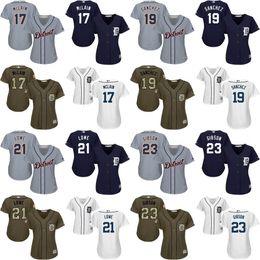 Wholesale women Andrew Romine Anibal Sanchez Mark Lowe Kirk Gibson Francisco Rodriguez Baseball Jerseys cool base Stitched size S XL