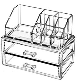 Acrylic Makeup & Jewelry Organizer, Cosmetic & Accessories Display Box, 2 Piece Set, By AcryliCase