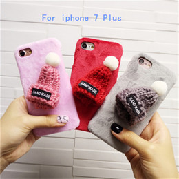 Wholesale For iphone Plus mobile phone Case Top fashion luxury Korean plush Christmas hat plush hard shell protective Hard Case have in stock