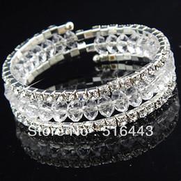Descuento cristales checo pulseras La nueva llegada 3pcs 3rows despeja las pulseras elásticos de los brazaletes de los encantos de las mujeres Rhinestones checas cristalinas La joyería al por mayor A-702 de la manera