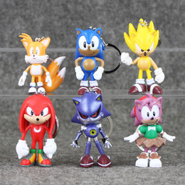 New 2017 6pcs set Sonic Keychain Pendants PVC Action Figure Collectable Model Toy for kids gift free shipping