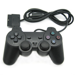 Joystick usb ps2 online-USB cableado Game Controller Gamepad Joystick control vibración motor vibración de choque para PS2 Windows PC regalo