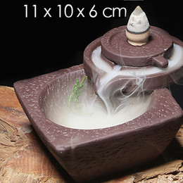 Wholesale Multifunction Air Fresheners Chinese Pottery Crafts Creative Home Decoration Lotus Pond Smoke Back Flow Cone Incense Burner Censer A0398