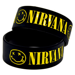 50PCS Lot Nirvana Silicone Wristband 1 Inch Wide Bangle Great For Music Fans To Show How You Support Your Idol