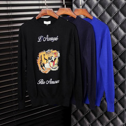 Wholesale 2016 cashmere woolen Sweater fashion males luxury brand gentlemen outwear male wool sweaters men s tiger Embroidery crew neck high quality