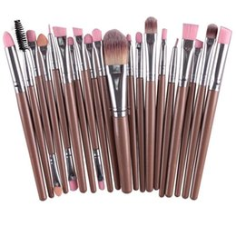 Mybasy Professional 20Pcs Pro Makeup Set Powder Foundation Eyeliner Lip Cosmetic Makeup Brushes Eyeshadow Eyeliner Lip Brush Champagne silve
