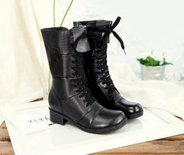 Wholesale In autumn and winter boots female Martin boots head layer cowhide drum cowhide in lace up black boots with British wind female boots