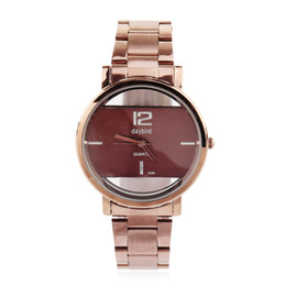 Wholesale 2017 New Daybird Top sale womens watch full coffe face Stainless steel strap translucent quartz movement watch women