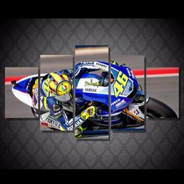 Descuento marcos de carreras 5Pcs / set impresión impresa HD de la lona del cuadro del moto de la raza