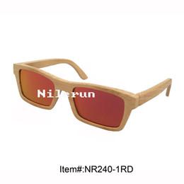 women's rectangle red polarized lens natural bamboo frame sunglasses