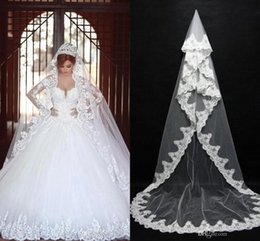 Cheap In Stock Long Bridal Veils Lace Bridal Wedding Accessories Long Appliques Edged Cathedral Formal Wedding Veils CPA091