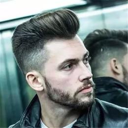 Pleine perruque de dentelle hommes en Ligne-Perruque naturelle pour hommes 6x8 pouces courte cheveux noirs homme toupee dentelle suisse PU peau mince recharge cheveux pleine dentelle cheveux humains perruques