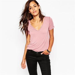Wholesale casual solid pink 2017 new t shirts tee shirt women short sleeve summer slim brief V neck top women fashion tops