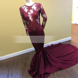 Dark Red See Through Sheer Long Sleeve O neck Pearls Long Prom Dress with Lace Satin New Arrival Mermaid Burgundy African Evening Dresses