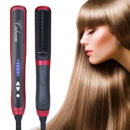 Wholesale HQT Hair Straightener Comb Tourmaline Ceramic Iron Hair Straighteners mason brush