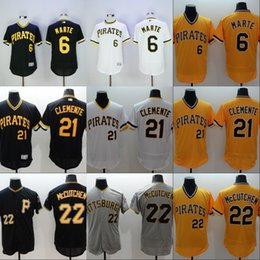 Wholesale Pirates Jersey Starling Marte Roberto Clemente Andrew McCutchen Eric Fryer Men s Stitched Embroidery Logos Baseball Jerseys