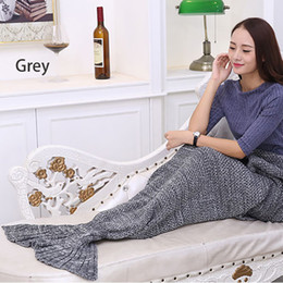 Wholesale Mermaid Tail Blanket Sleeping Bag Soft Crochet Knitted Mermaid Blanket TV Sofa Living Room Air condition Blanket for Girl Adults Kids