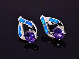 Wholesale & Retail Fashion Blue Pink Fine Fire Opal Earrings 925 Silver Plated Jewelry EMT16042609
