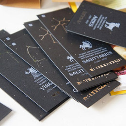 Wholesale Vintage Zodiac Bookmark Card Black Paper Antiques Bookmarks Creative Gift Korean Stationery