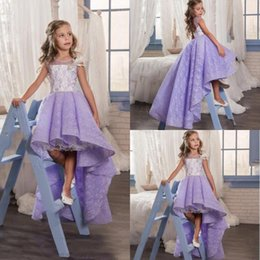 Wholesale Special Design Flower Girls Dresses Jewel Sheer Neck With Applique High Low Pageant Dresses Back Zipper Tiered Ruffles Lavenda Party Gowns