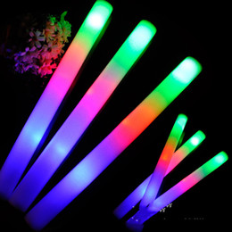 2017 flan de mousse led LED Colorful Rods Led Foam Stick Flashing Foam Stick Light Cheering Glow Foam Stick Concert Light Sticks promotion flan de mousse led
