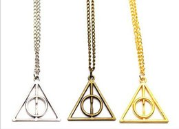Wholesale Harry Potter Pendant Deathly Hallows Necklace Triangle Gift Antique copper Silver Gold Movie Jewelry Necklaces for christmas colors