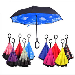 Wholesale Windproof Reverse Folding Double Layer Inverted Chuva Umbrella Self Stand Inside Out Rain Protection C Hook Hands For Car b572