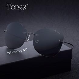 Compra Online Gafas de diseño fresco-FONEX 2017 nuevos hombres frescos Oval Rimless Sun gafas de sol titanio mujeres diseñador de marca Oversized Ultra-Light gafas de sol polarizadas F30002