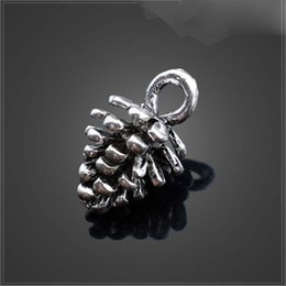 Wholesale Alloy Metal Antique Silver Pine Cone Charms For Jewelry Making DIY x7 mm YZ