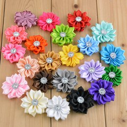 free shipping 50pcs lot Satin Flower WITHOUT Clip Fabric Flower With Rhinestone For Baby Girls Headbands Appliques Garment Accessories H068