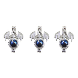 Pearl cage necklace pendant, essential oil diffuser, dragon provides silver-plated 10pc - plus your own pearl, stone makes it more attractiv