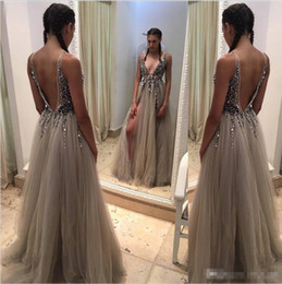 Wholesale 2016 Shinning Deep V Neck Prom Dresses Backless Beads Sequins Tulle Side Split Plunging Sexy Celebrity Evening Party Dresses Fromal Wear