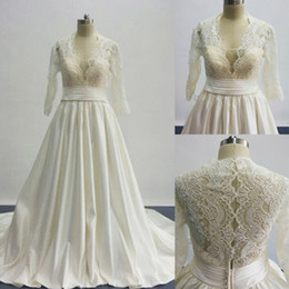 2016 A Line Wedding Dresses Inspired by cosmobella 7746 Plunging V Neckline Lace Satin Princess Bridal Gowns with Three Quarter Long Sleeves