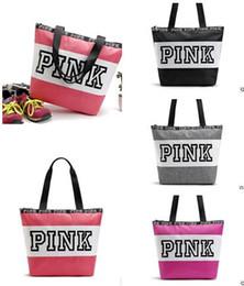 Wholesale Secret VS Shoulder Bags Women Love Pink Handbags Large Capacity Travel Duffle Striped Waterproof Beach Bag Shoulder Bag