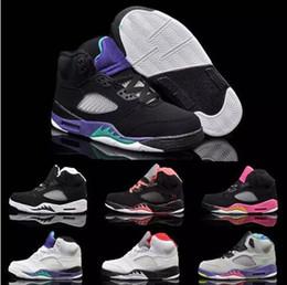 Acheter en ligne Caoutchouc respirante-Livraison gratuite Chaussures de basket-ball de rétro 5 d'enfants respirants de nouvelles pour des garçons et des filles de caoutchouc de toile