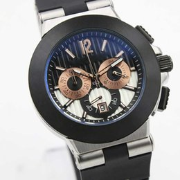 Wholesale - Top Luxury Brand quartz Chronograph men Watches stopwatch Siliver Case Diagono rose gold iron Sapphire Crystal Rubber Bands