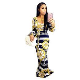 Descuento las mujeres atractivas de oro Venta al por mayor 2016 mamelucos mujer sexy manga larga manga paisley imprimir arco combinados oro combinación femme mujer bodycon jumpsuit