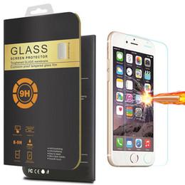 Compra Online Pantallas digitales-Para Iphone 7 vidrio templado 2 Packs protector de pantalla para Iphone 6s Plus película transparente con 9H de dureza 0.26mm 2.5D Anti-huella digital de caja de venta al por menor