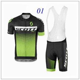 Promotion cuissard vente Bicicletas Vente Ropa Ciclismo Haute qualité 2016 Scott Noir Maillot blanc Jersey à manches courtes + bavoir Shorts Sets Can Mix Taille