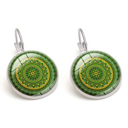 Bohemian Earrings Glass Cabochon Vintage Kaleidoscope Time Gemstone Flowers images Children Gift Women Charm Jewelry Wholesale