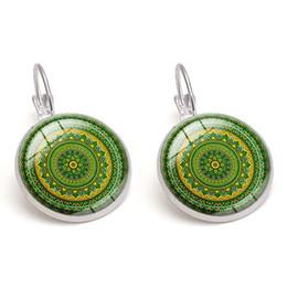 Bohemian Glass Cabochon Earrings Vintage Kaleidoscope Time Gemstone Flowers images Children Gift Women Charm Jewelry Wholesale