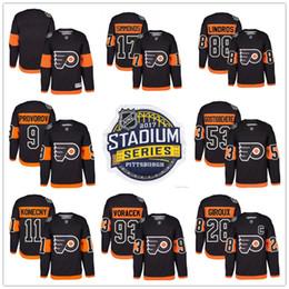 2017 Stadium Series Philadelphie Circulaires 9 Ivan Provorov Travis Konecny Giroux Wayne Simmonds Shayne Gostisbehere Jakub Voracek Maillots noirs à partir de série de hockey fabricateur