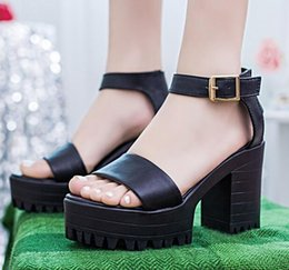 Women's new waterproof table thick high heels in the summer with fish in the mouth with cool shoes