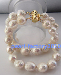baroque 10-11MM SOUTH SEA GENUINE WHITE PEARL BRACELET 14K GOLD CLASP