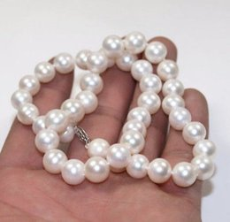 BEAUTIFUL 10-11MM SOUTH SEA GENUINE WHITE PEARL NECKLACE 14K GOLD CLASP