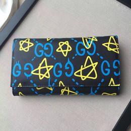 À double bourse de portefeuille en Ligne-Nouveau luxe double G Ghost GG étoiles portefeuille long cartes de package Coin Purse cuir véritable avec logo pour l'homme ou les femmes chrismas cadeau.