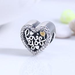 Corazón del oro de la pulsera 925 en Línea-Auténtico Real 925 Sterling Silver Love You Corazón 14K oro plateado CZ europeos encantos encaje Pandora Cadena Pulsera DIY Moda Joyería